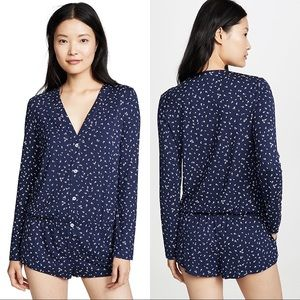 Eberjey bloom long sleeve teddy navy blue white floral button front romper S